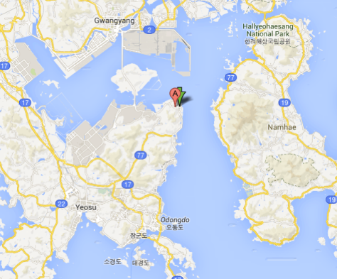 A map of Yeosu, with the accident location marked. Map via Google Maps.
