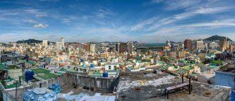 Panorama of Busan Korea viewed from Ibagu-gil