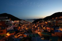Sunset view of houses in Gamcheon Cultural Village