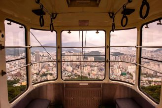 Inside view of cable car in Busan