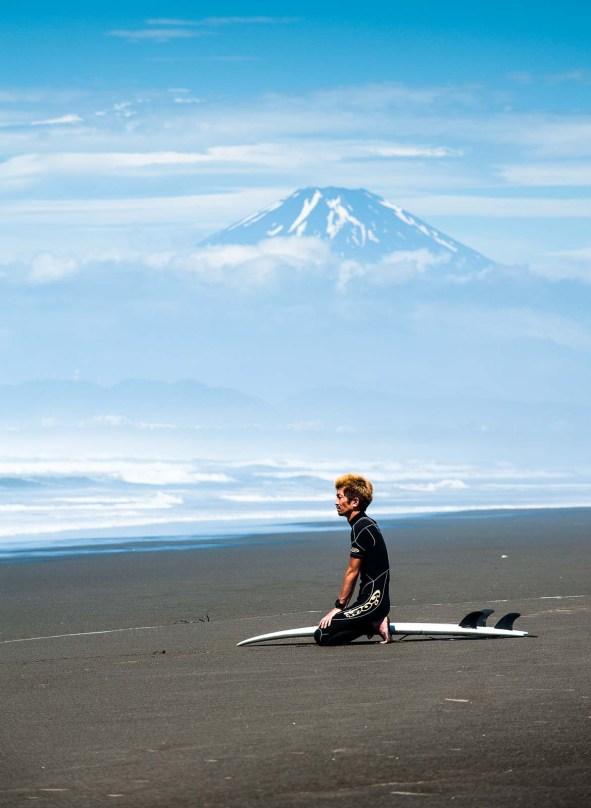 Shonan surfer near Mt. Fuji, Fujisawa, Japan.