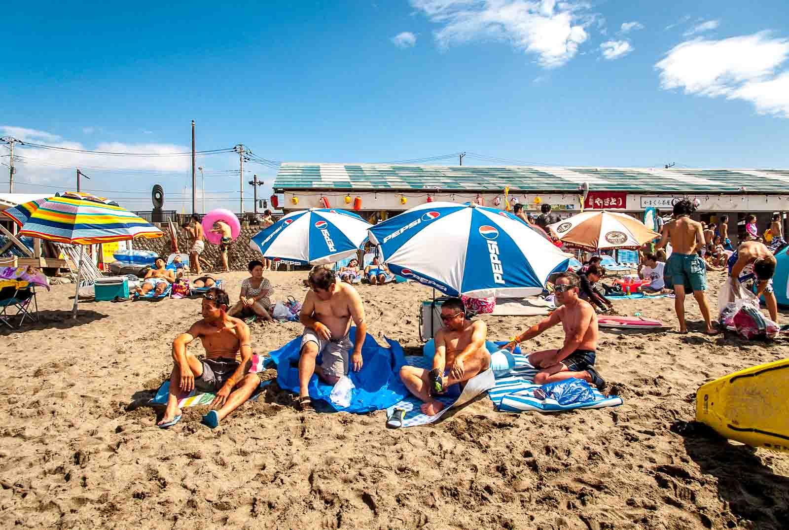 Yuigahama Beach in Kamakura, Japan, home of the 2020 Summer Japan Olympic sailing events