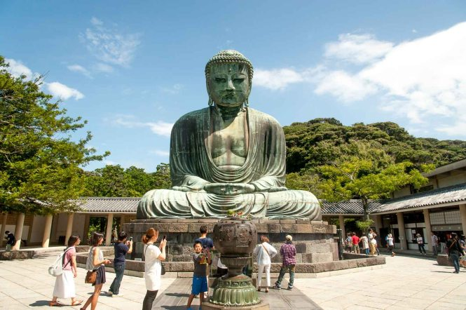 Daibutsu (giant Buddha) at Kōtoku-in Temple in Kamakura, home of the 2020 Summer Japan Olympic sailing events