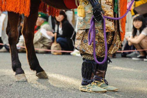 A samurai warrior and shogun's horse at the Nagoya Festival.