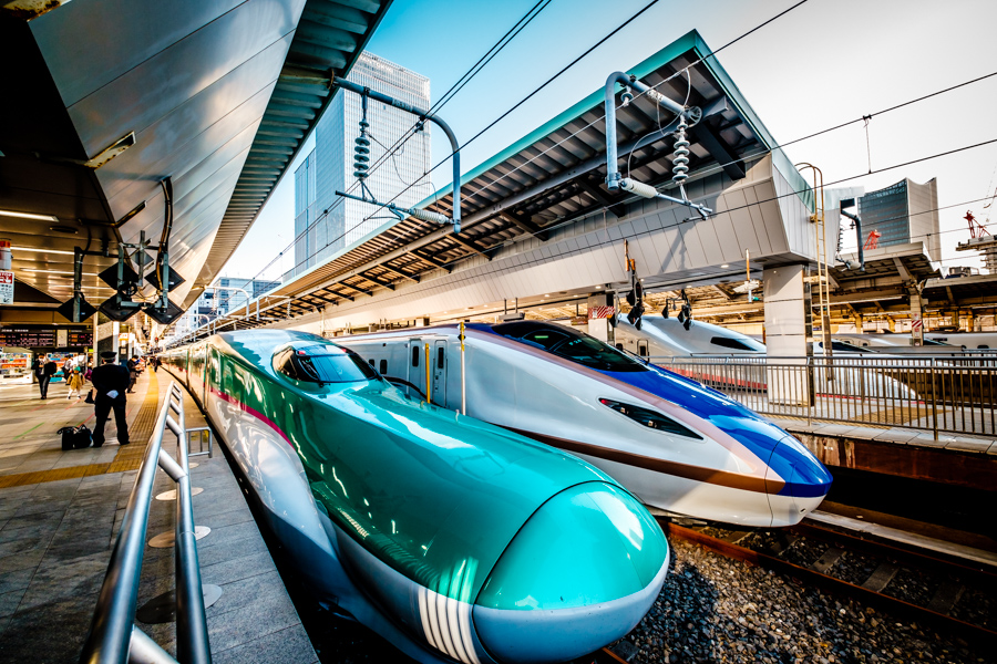 JR East's iconic Hayabusa Shinkansen at Tokyo Station. Part of a story on Tohoku for National Geographic Traveller by Ben Weller, a photographer in Japan.