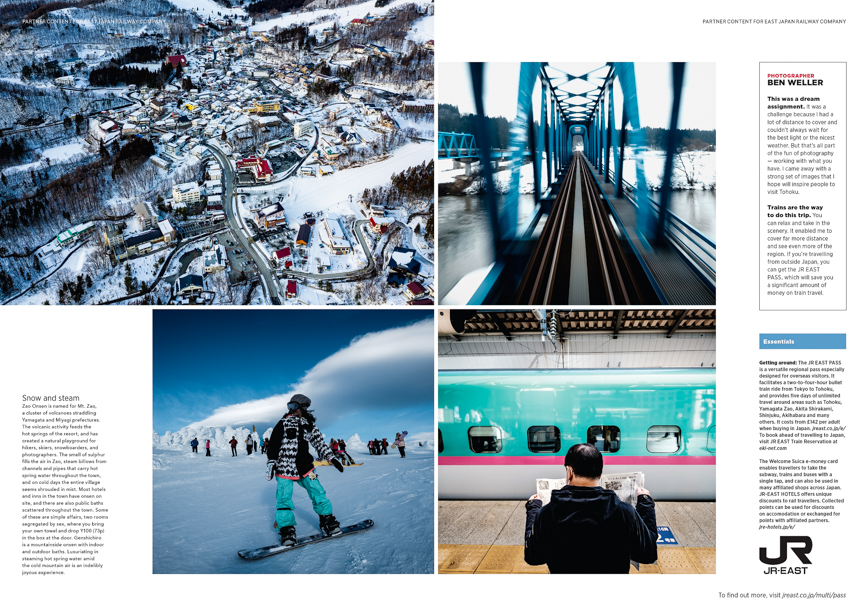Closing spread of a story on Tohoku for National Geographic Traveller by Ben Weller, a photographer in Japan.